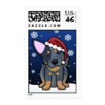 Kawaii Blue Heeler Christmas Postage Stamps