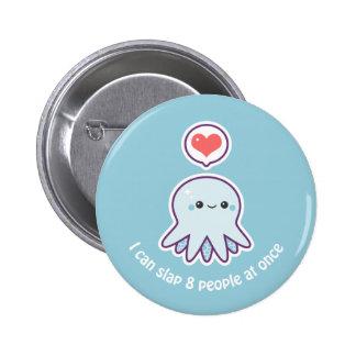Kawaii Blue Octopus Button