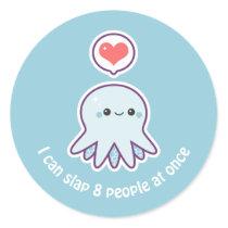 Kawaii Blue Octopus Classic Round Sticker