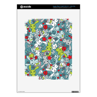 kawaii blue pattern decal for iPad 3