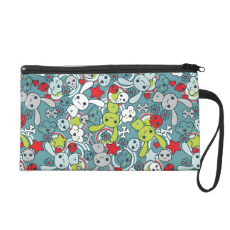 kawaii blue pattern wristlet