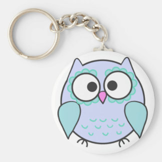 Kawaii Blue & Turquoise Illustrated Owl Keyring