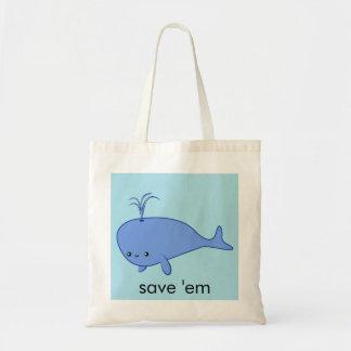 Kawaii blue whale tote bag