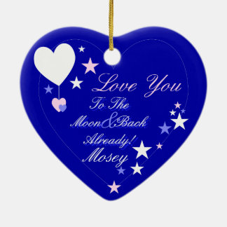 Kawaii Blueberry Basket (Boy) Double-Sided Heart Ceramic Christmas Ornament