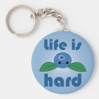 Kawaii Blueberry Life is Hard keychain