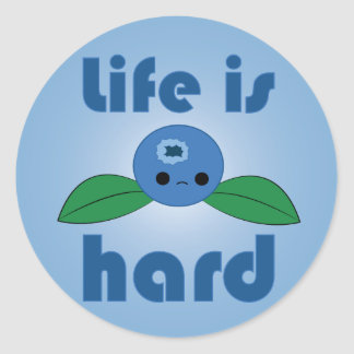 Kawaii Blueberry Life is Hard stickers