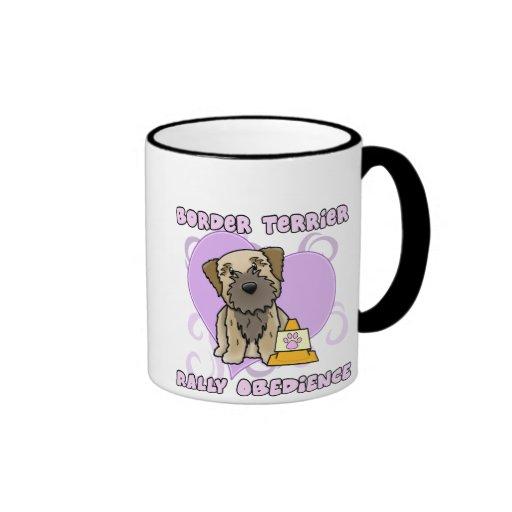Kawaii Border Terrier Rally Obedience Ringer Mug