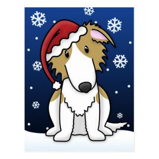 Kawaii Borzoi Christmas Postcard