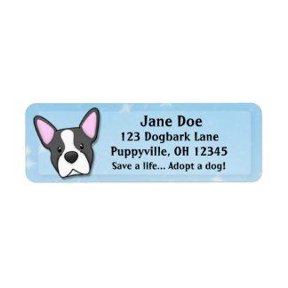 Kawaii Boston Terrier Label