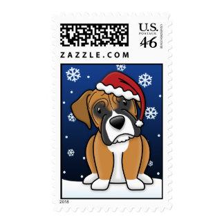 Kawaii Boxer Christmas Postage Stamps