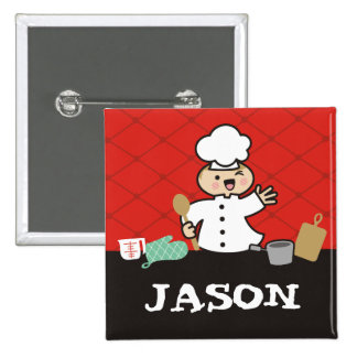 Kawaii boy chef kids cooking name tag badge 2 inch square button