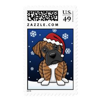 Kawaii Brindle Boxer Christmas Stamps