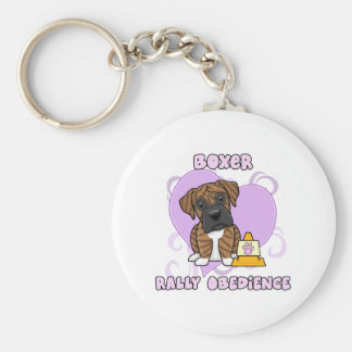 Kawaii Brindle Boxer Rally Obedience Basic Round Button Keychain