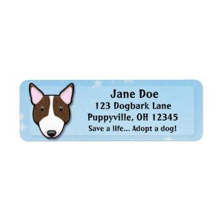 Kawaii Brindle Bull Terrier Return Address Label