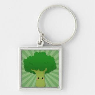 Kawaii Broccoli on Green Starburst Keychain
