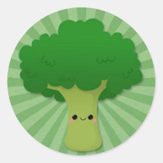 Kawaii Broccoli on Green Starburst Classic Round Sticker