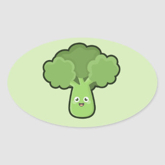 Kawaii Broccoli Oval Sticker