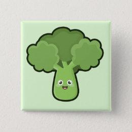 Kawaii Broccoli Pinback Button