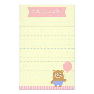 Kawaii brown bear holding a pink balloon stationery