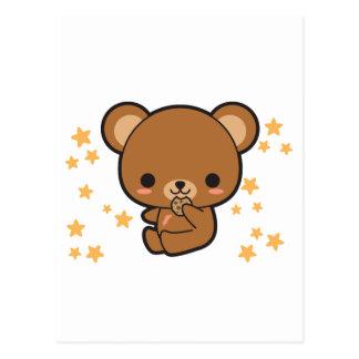 Kawaii Brown Bear Postcard