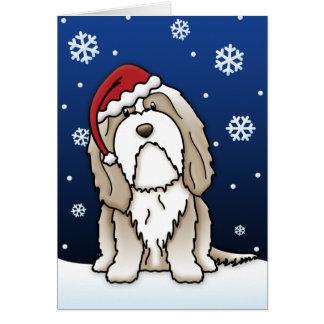 Kawaii Brown Bearded Collie Christmas Card