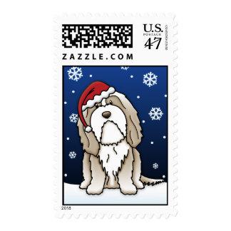 Kawaii Brown Bearded Collie Christmas Stamps