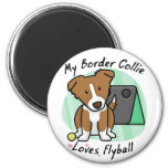 Kawaii Brown Border Collie Flyball Magnet