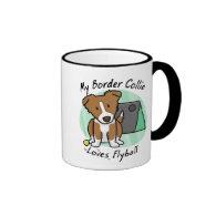 Kawaii Brown Border Collie Flyball Mug