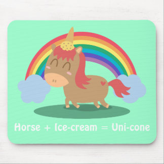 Kawaii Brown Horse trying to be a Unicorn Mouse Pad