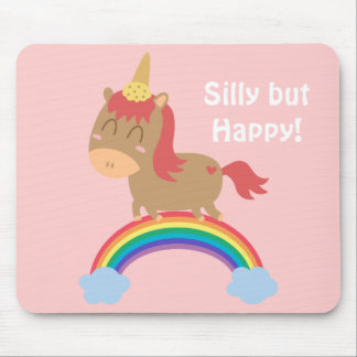 Kawaii Brown Horse trying to be a Unicorn Mouse Pads