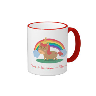 Kawaii Brown Horse trying to be a Unicorn Ringer Coffee Mug
