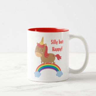 Kawaii Brown Horse trying to be a Unicorn Two-Tone Coffee Mug