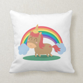 Kawaii Brown Horse trying to be a Unicorn Pillow