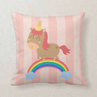 Kawaii Brown Horse trying to be a Unicorn Throw Pillows