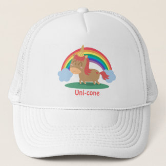 Kawaii Brown Horse trying to be a Unicorn Trucker Hat