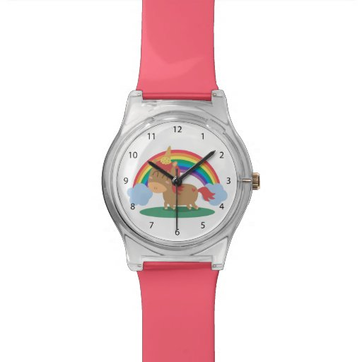 Zazzle Kawaii Brown Horse trying to be a Unicorn Wrist Watch