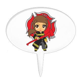 Kawaii Brunette Firefighter Girl - Cake Toppers