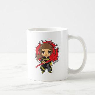 Kawaii Brunette Firefighter Girl - Coffee Mug