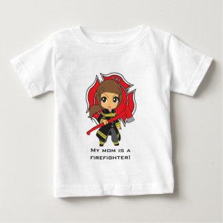 Kawaii Brunette Firefighter Girl - Customizable Baby T-Shirt