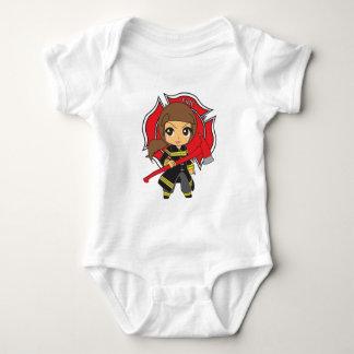 Kawaii Brunette Firefighter Girl - Customizable T Shirt