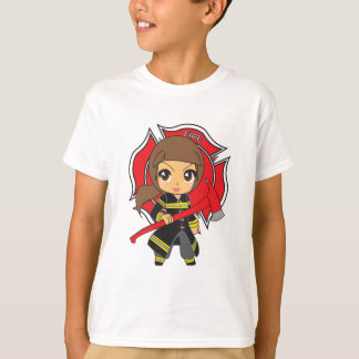 Kawaii Brunette Firefighter Girl - Customizable T-Shirt