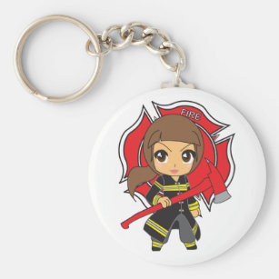Kawaii Brunette Firefighter Girl Keychain