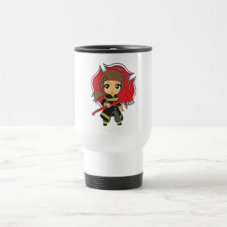 Kawaii Brunette Firefighter Girl - Coffee Mugs