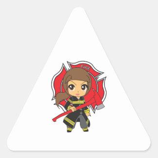 Kawaii Brunette Firefighter Girl - Triangle Sticker