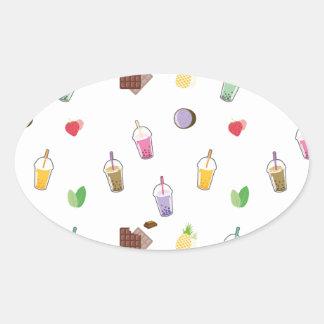 Kawaii Bubble Tea Oval Sticker