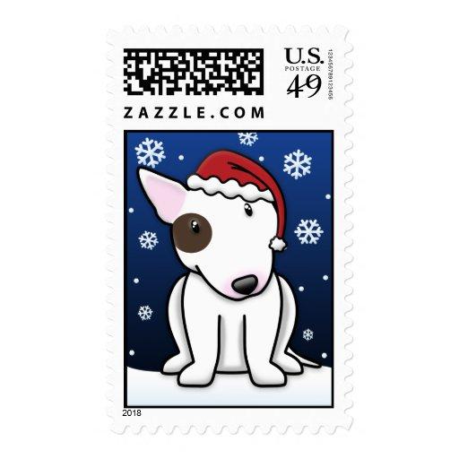Kawaii Bull Terrier Christmas Stamps