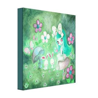 Kawaii Bunnies And Girl On Mushroom Canvas Print