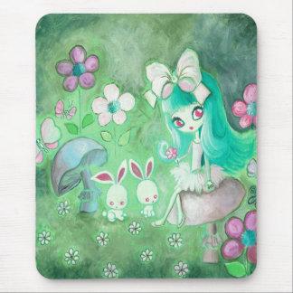 Kawaii Bunnies And Girl On Mushroom Mouse Pad