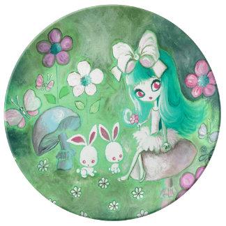 Kawaii Bunnies And Girl On Mushroom Porcelain Plate