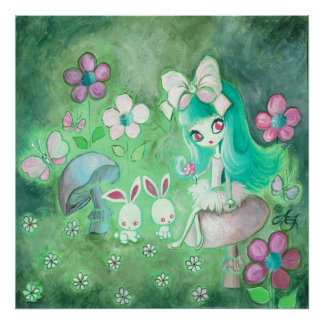 Kawaii Bunnies And Girl On Mushroom Poster